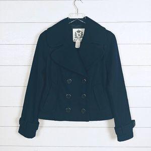 BB Dakota Navy Cropped Wool  Pea Coat